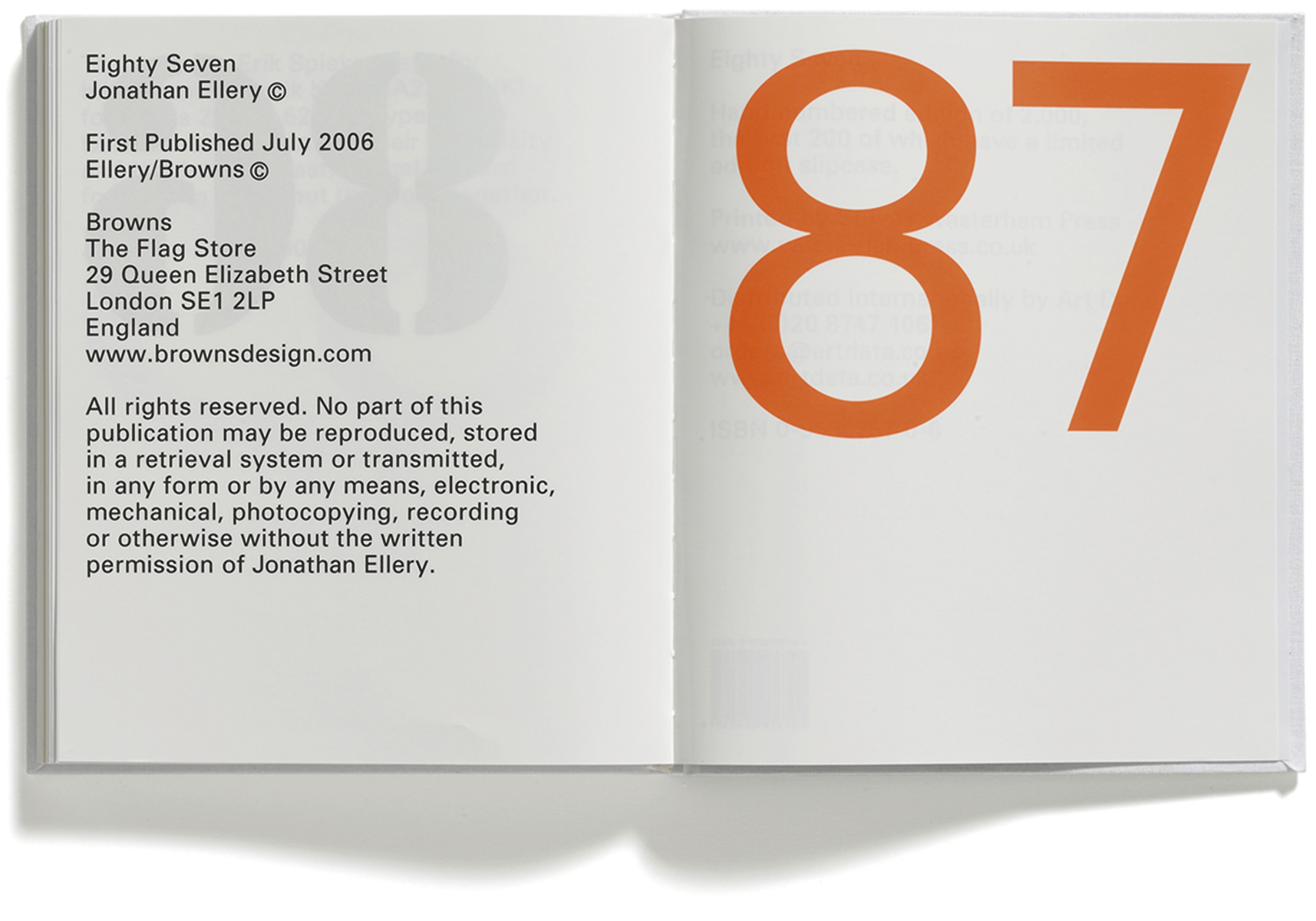 87 Ellery, Jonathan Ellery, Published by Browns Editions, Design by Browns Design, book