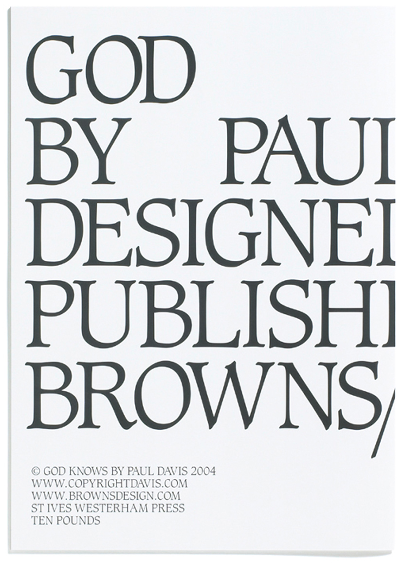 Browns Editions, Browns Editions Publishing, Browns Editions Books, Browns Editions Paul Davis, Browns Editions God Knows, Browns Editions Paul Davis God Knows