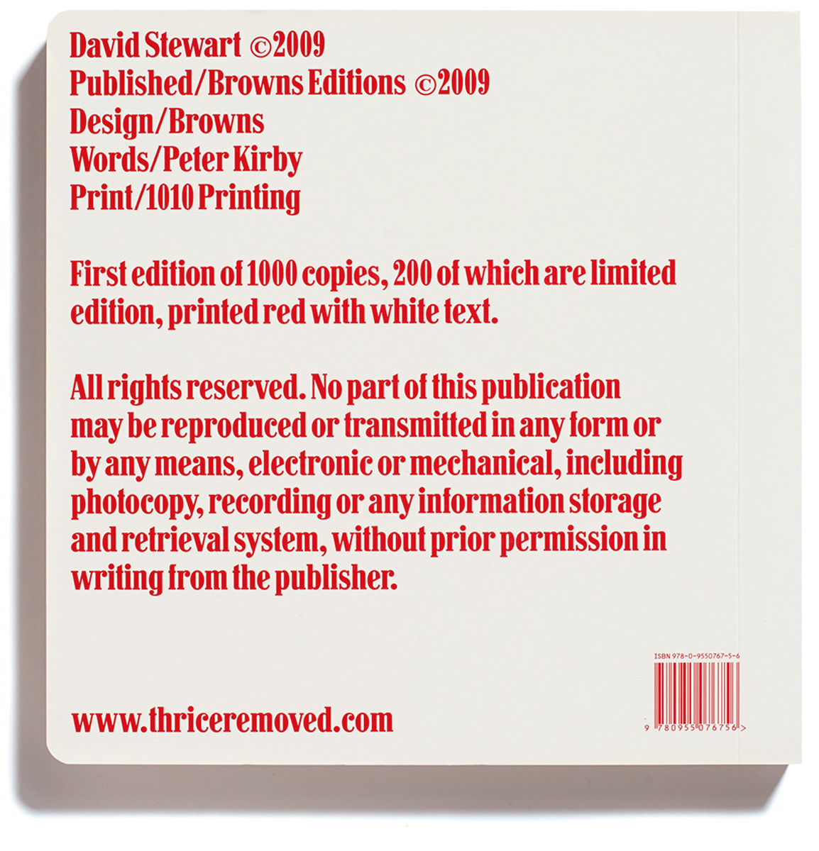 Browns Editions, Browns Editions Publishing, Browns Editions Books, Browns Editions David Stewart, Browns Editions Thrice Removed, Browns Editions David Stewart Thrice Removed